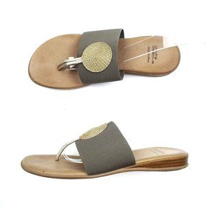Andre Assous Elastic Stretch Gold Circle Sandals
